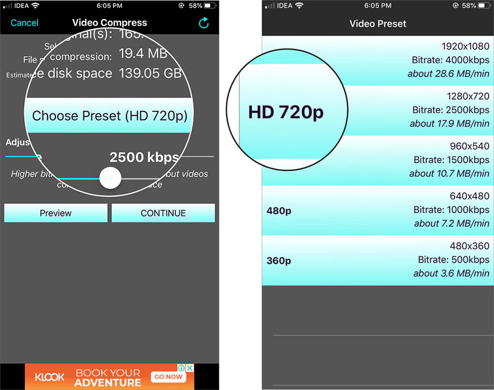 Tap on Choose Preset and Select Preferred Size to Compress iPhone Video