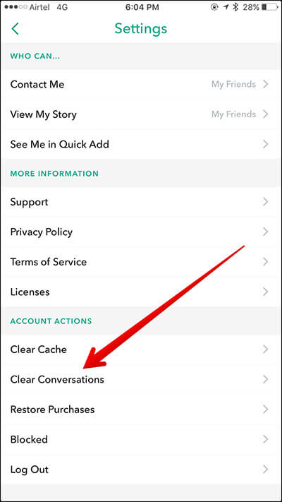 Tap on Clear Conversations in Snapchat on iPhone