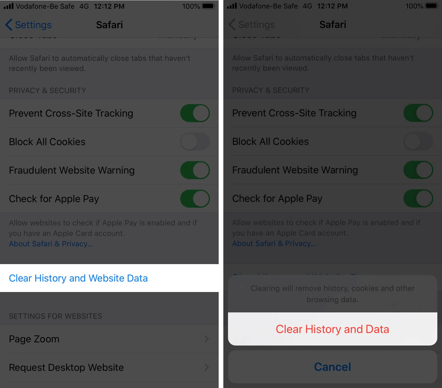 Tap on Clear History and Website Data to Clear Safari Browsing History on iPhone