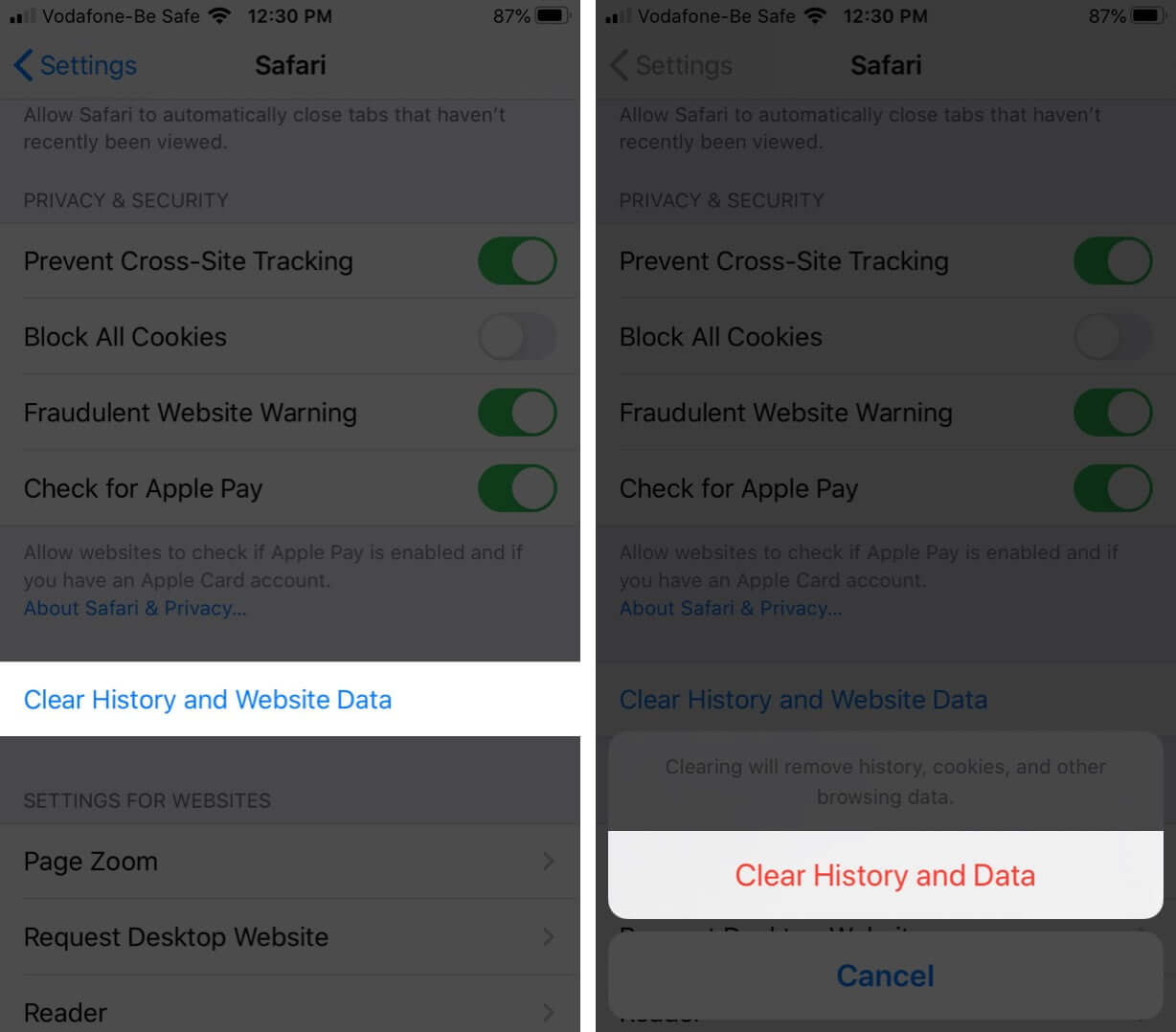 Tap on Clear History and Website Data to Delete History and Cookies in Safari on iPhone