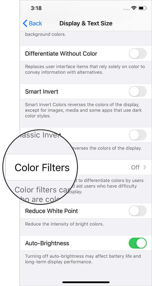 Tap on Color Filters on iPhone