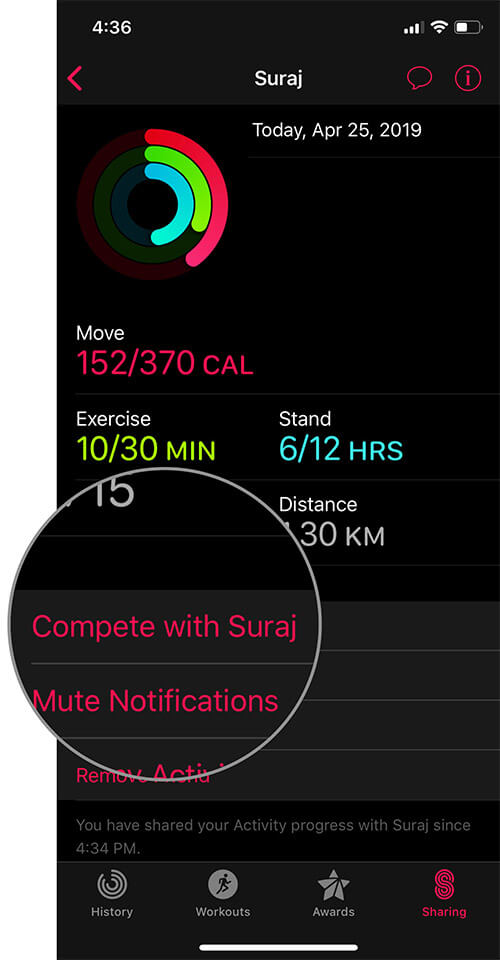 Tap on Compete with a Friend in iOS Activity app