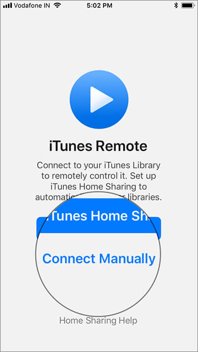 Tap on Connect Manually in iTunes Remote App