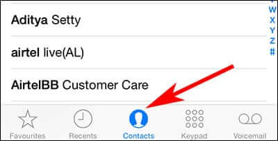 Tap on Contacts on iPhone Phone App