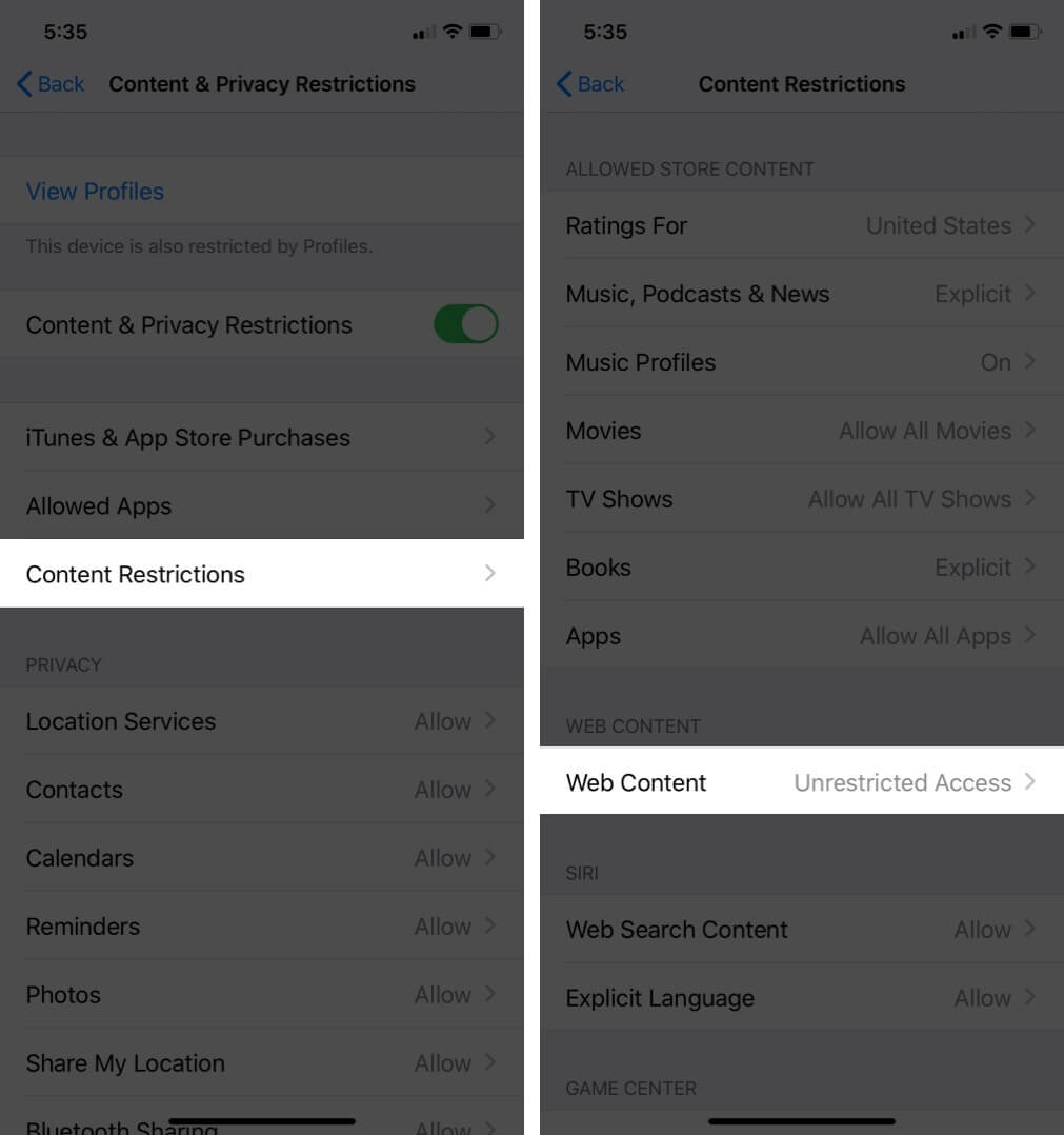 Tap on Content Restrictions and Then Tap on Web Content on iPhone