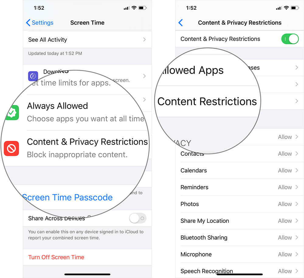 Tap on Content Restrictions in Screen Time Settings on iPhone or iPad
