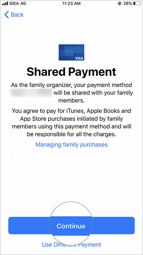 Tap on Continue for Share Payment information in iOS Family Sharing