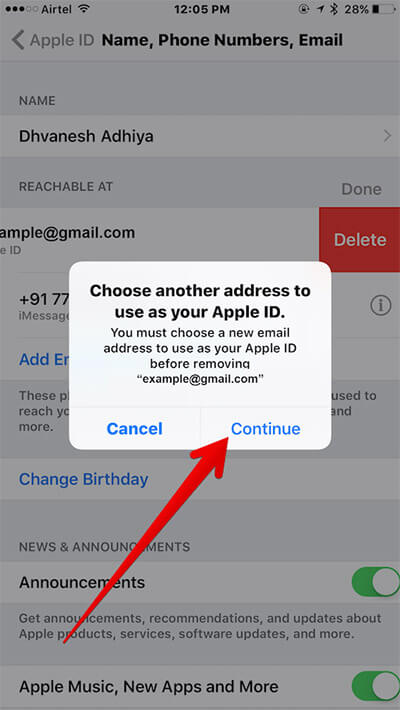 Tap on Continue in Apple ID Settings on iPhone