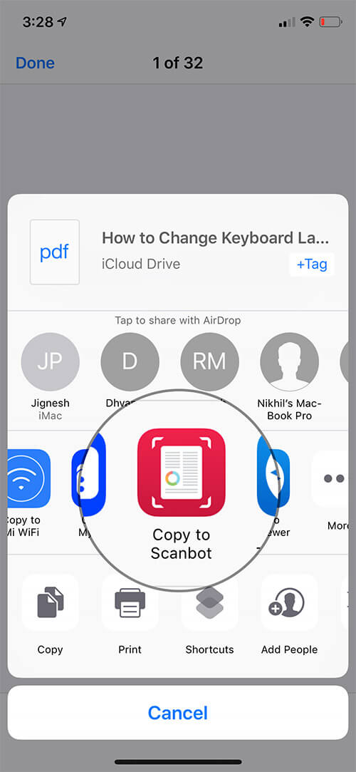 Tap on Copy to Scanbot in the share sheet on iPhone