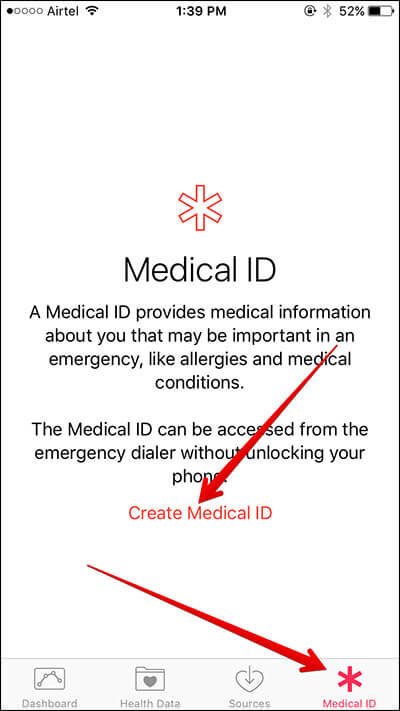 Tap on Create Medical ID on iPhone