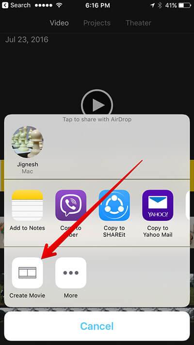 Tap on Create Movie in Sharesheet in iMovie iPhone App