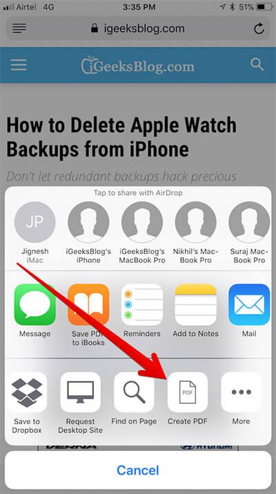 Tap on Create PDF in Safari on iPhone