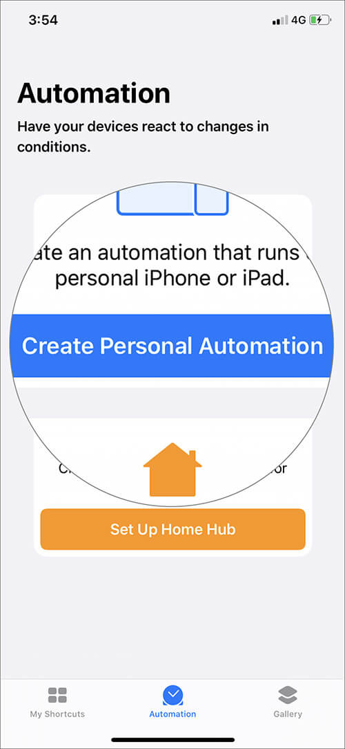 Tap on Create Personal Automation in iOS 13 Shortcuts App
