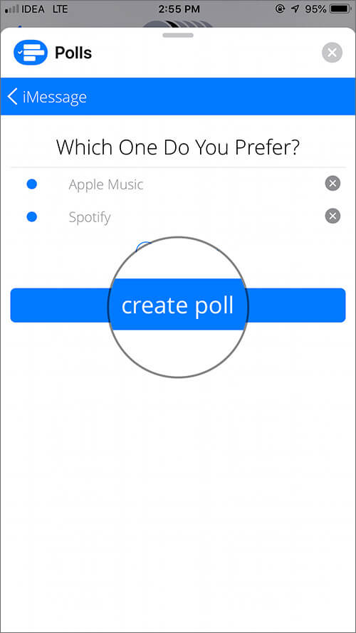 Tap on Create Poll in iMessage Group Chat