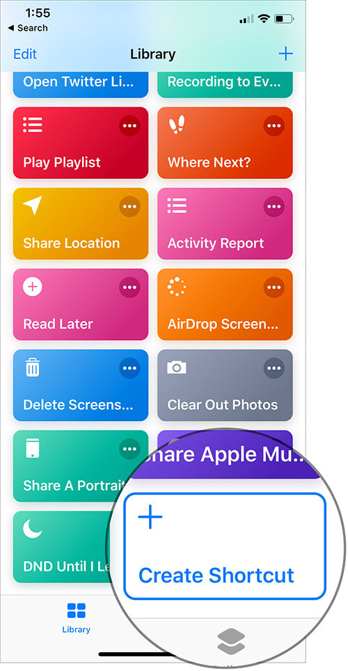 Tap on Create Shortcut button in iOS 12 Shortcut App