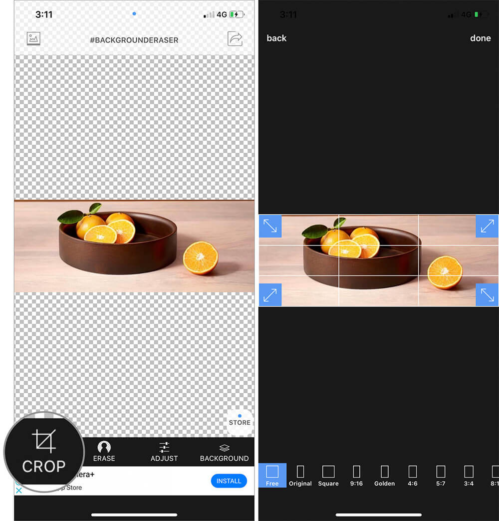 Tap on Crop icon and crop out Extraneous area in iOS Background Eraser App