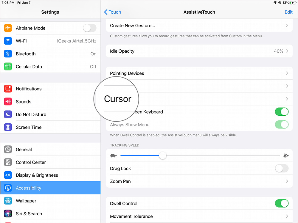 Tap on Cursor in AssistiveTouch Settings on iPad
