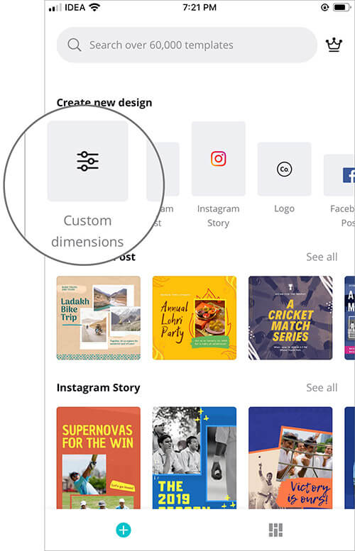 Tap on Custom Dimension in Canva App to Create Wallpaper on iPhone