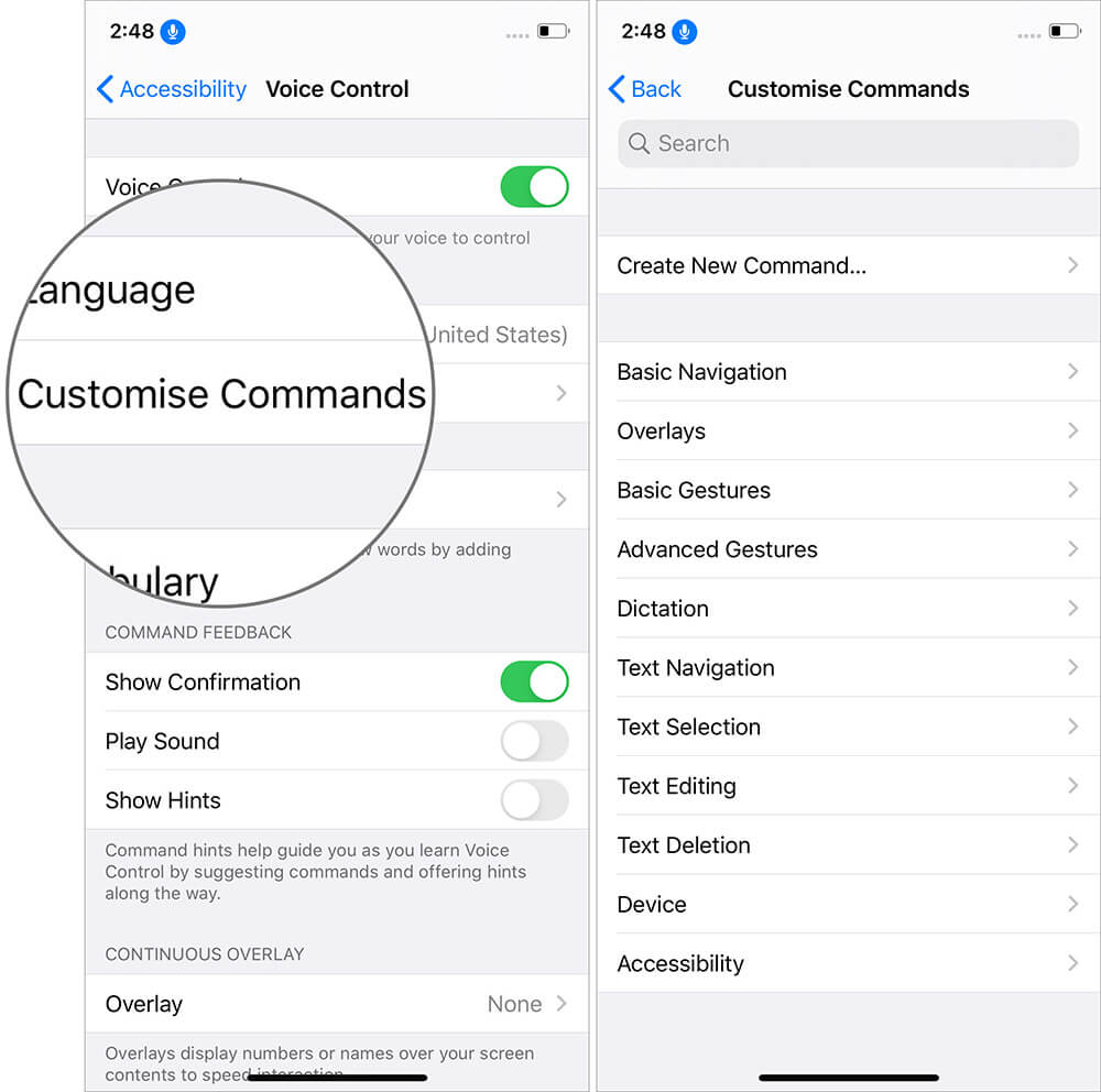 Tap on Customise Commands in Voice Control on iPhone