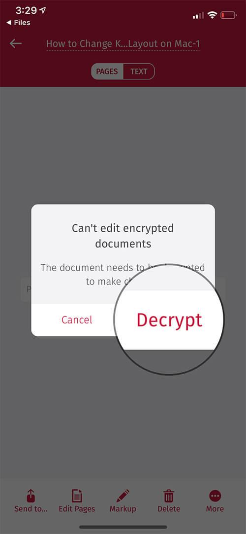 Tap on Decrypt in iOS Scanbot App