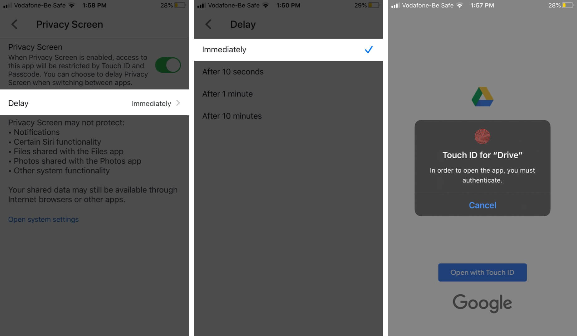 Tap on Delay and Select Immediately Lock Google Drive Using Privacy Screen Feature on iPhone