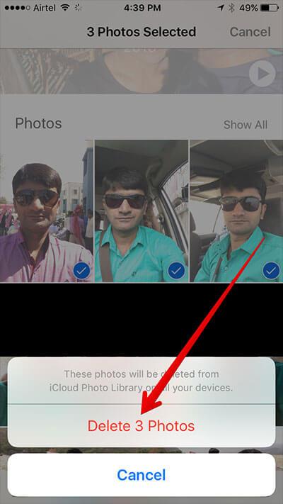 Tap on Delete Photos in Memories in iOS 10 Photos App
