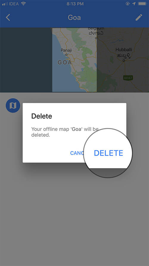 Tap on Delete again to confirm in Google Maps app