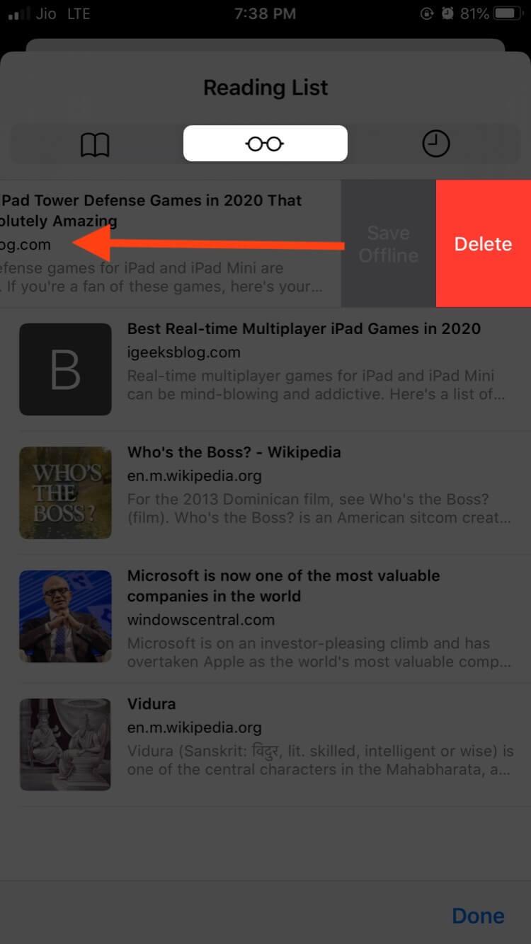 Tap on Delete and Remove Safari Reading List in iOS 13