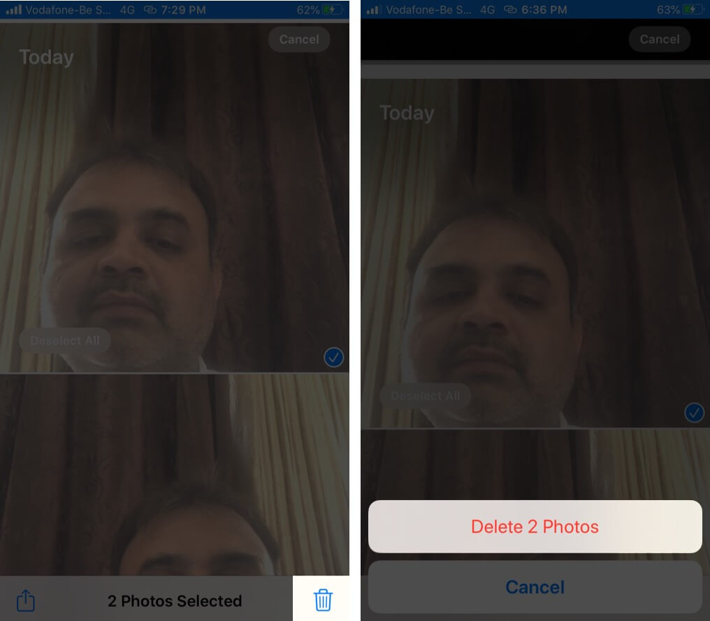 Tap on Delete to Remove Images from Photos App on iPhone