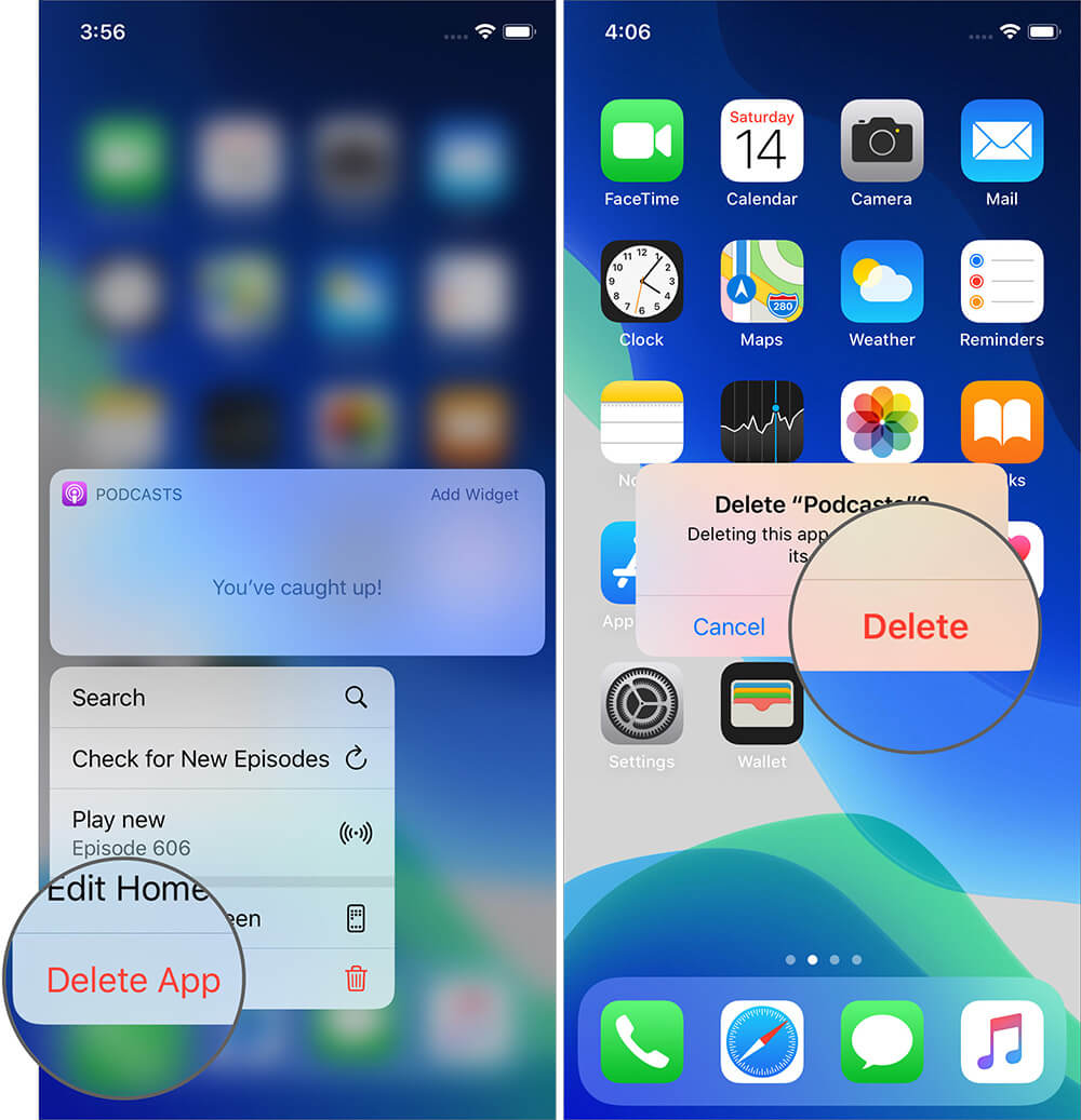 Tap on Delete to Remove Podcasts App on iPhone
