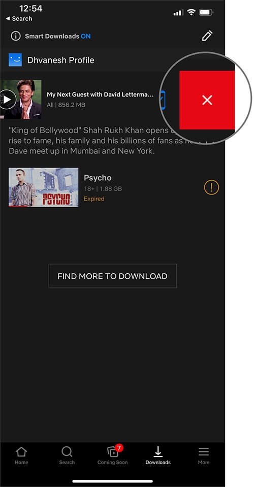Tap on Delete to Remove a Downloaded Movie or TV Episode from Netflix on iPhone