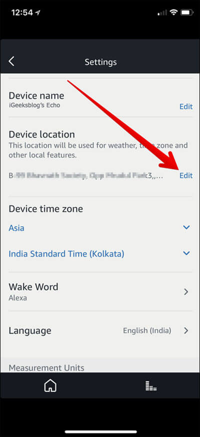 Tap on Device location Edit in Alexa App