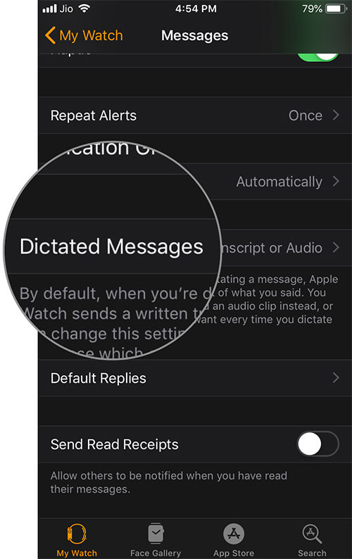 Tap on Dictated Messages in Watch App on iPhone