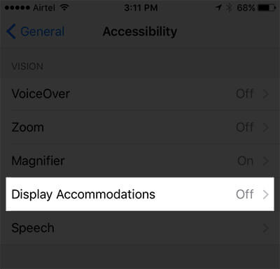 Tap on Display Accommodations in iPhone Settings