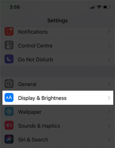 Tap on Display & Brightness on iPhone X