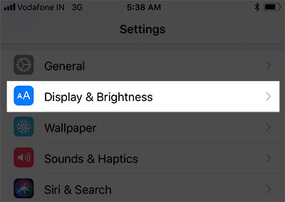 Tap on Display and Brightness on iPhone 8 Plus