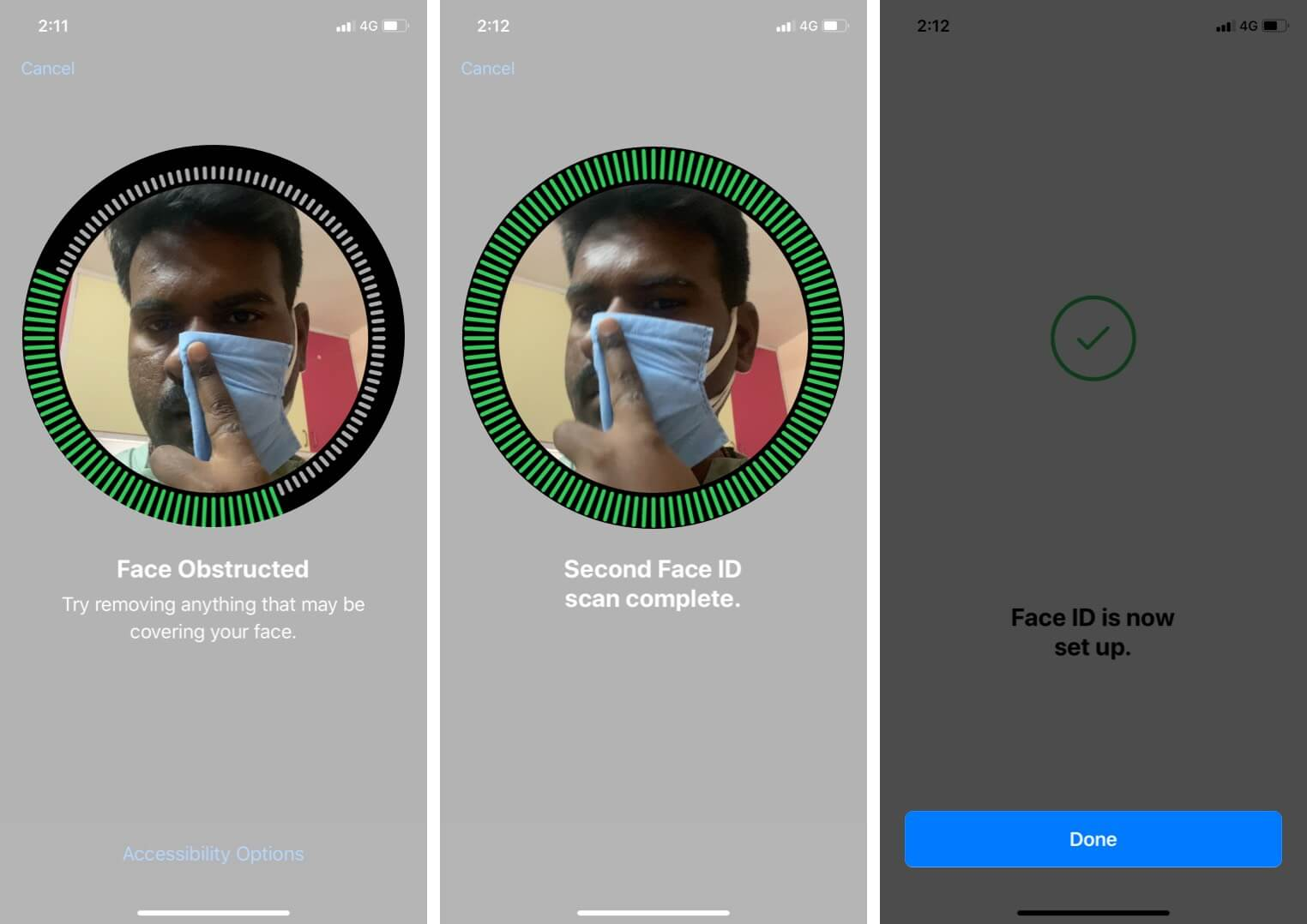 Tap on Done to Set up iPhone Face ID with Mask