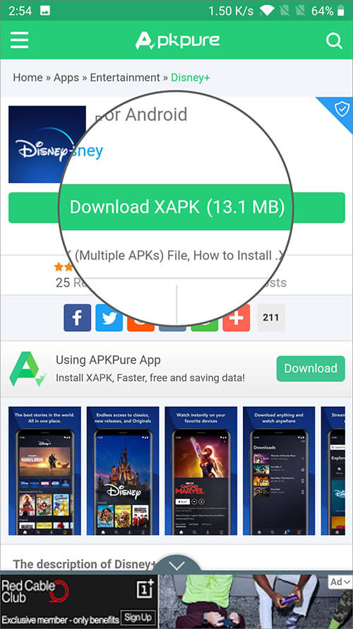 Tap on Download XAPK on Android Device