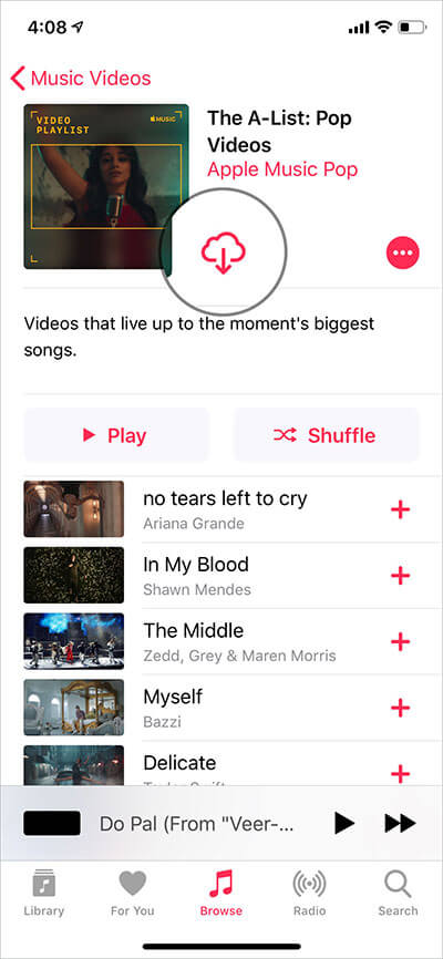 Tap on Download button in Apple Music