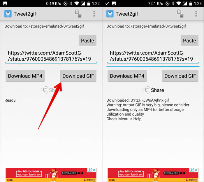 Tap on Download to Save GIF from Twitter on Android
