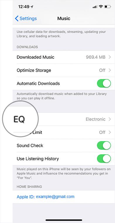 Tap on EQ in Music Settings on iPhone or iPad