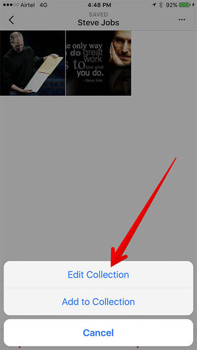 Tap on Edit Collection in Instagram on iPhone