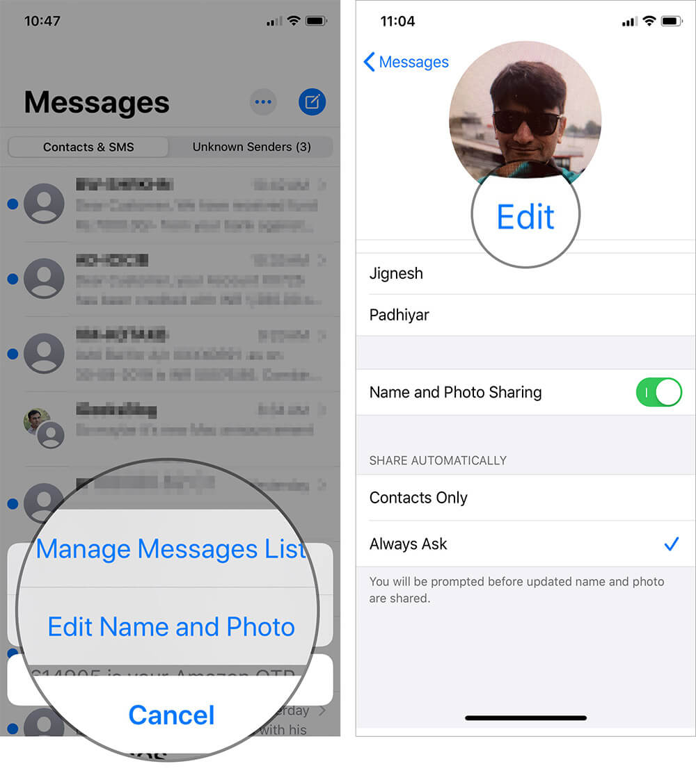 Tap on Edit Name and Photo and Tap on Edit on Profile Photo in iOS 13 iMessage App