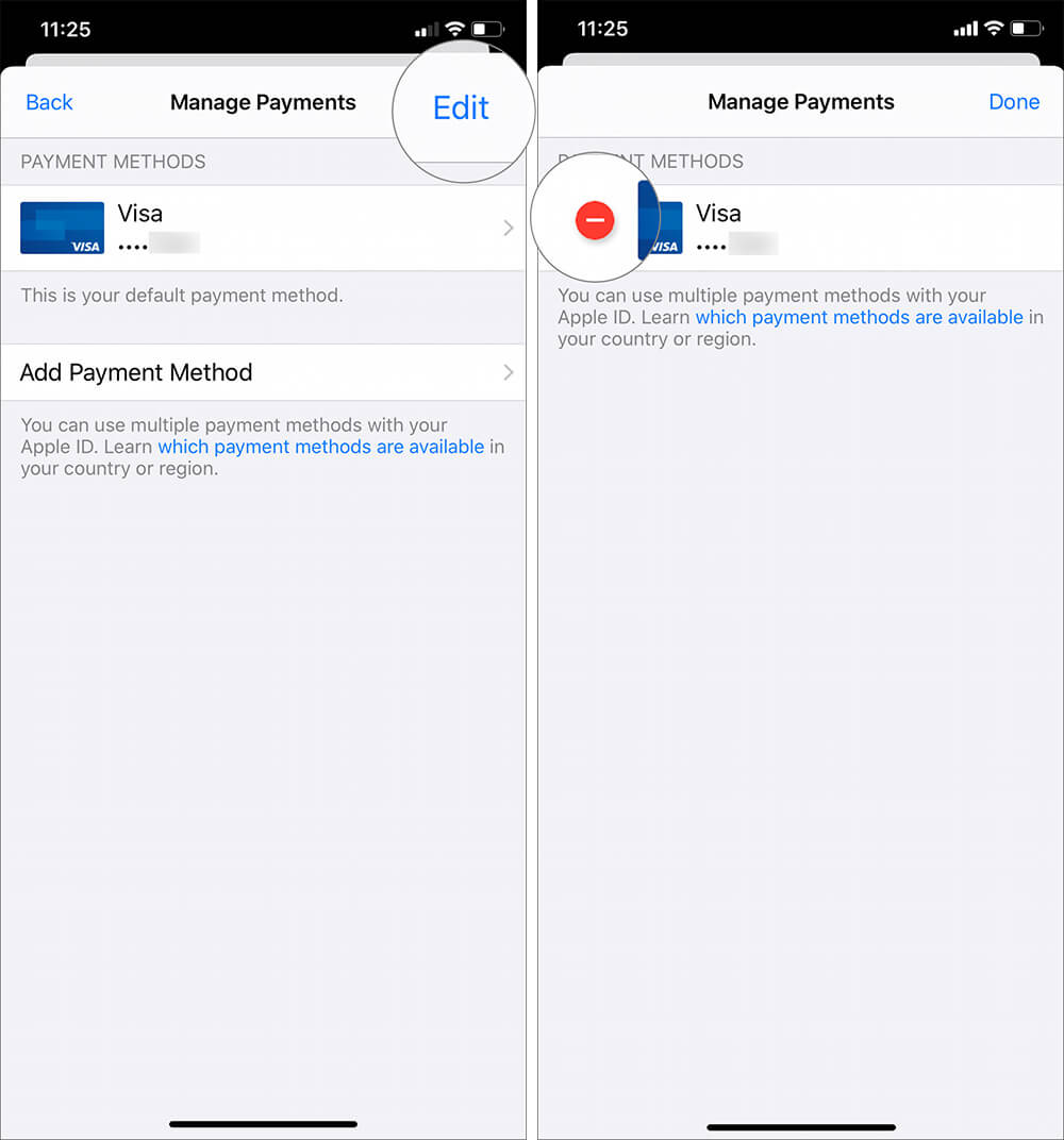 Tap on Edit button then red circle to Remove Credit Card from iOS Device