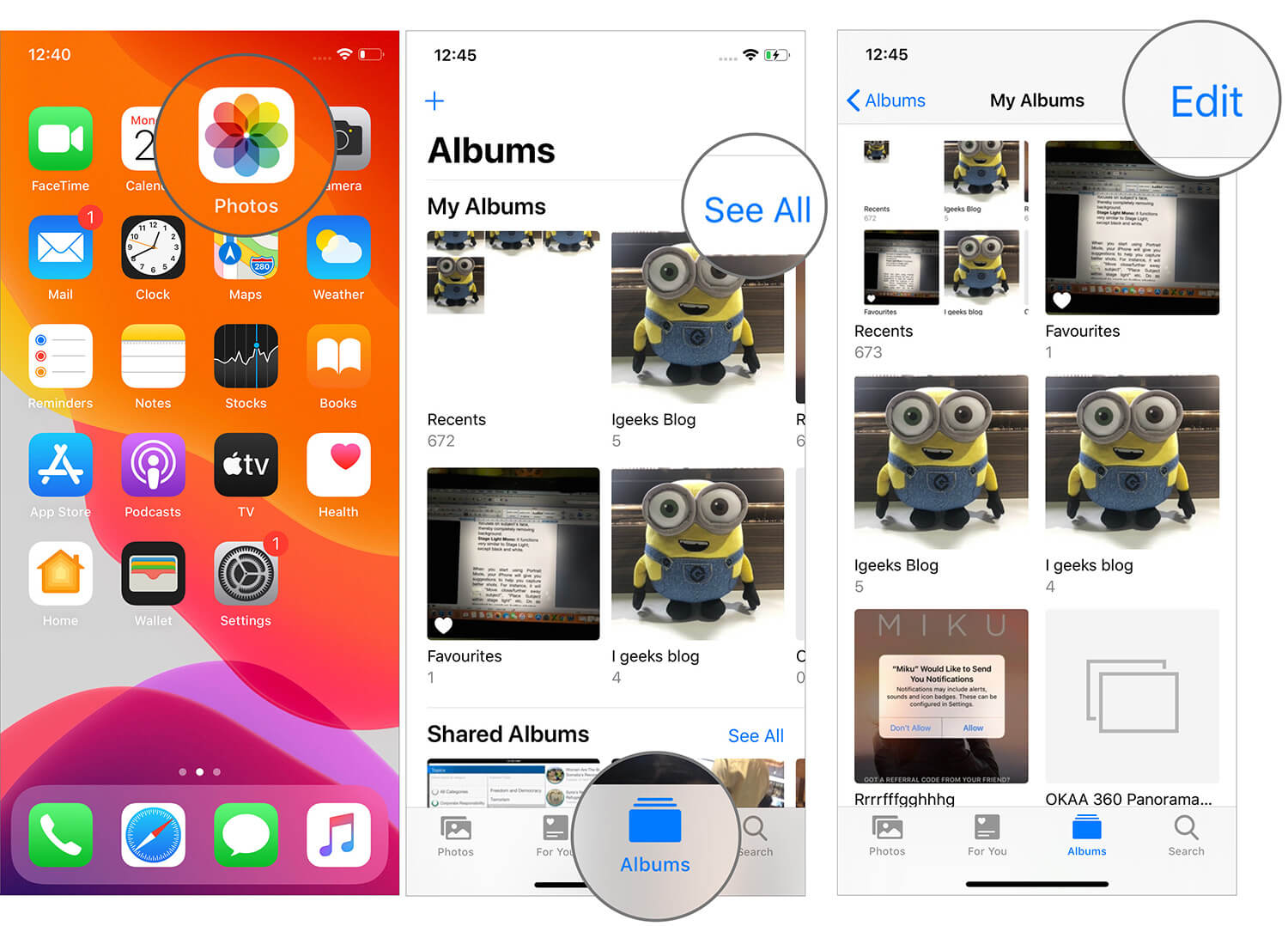 Tap on Edit in Albums Tab in iOS 13 Photos App on iPhone