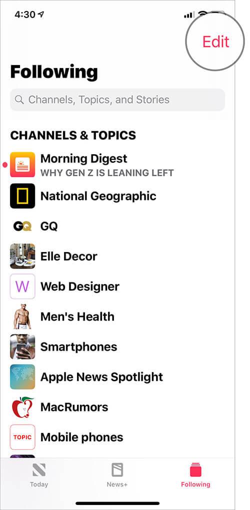 Tap on Edit in Appe News app