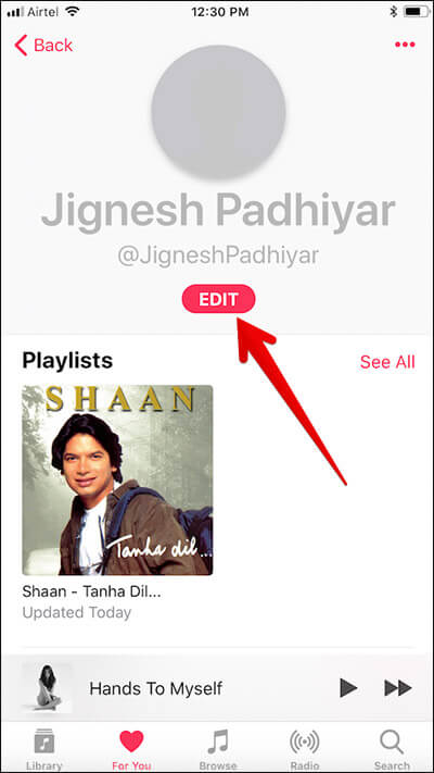 Tap on Edit in Apple Music Profile on iPhone