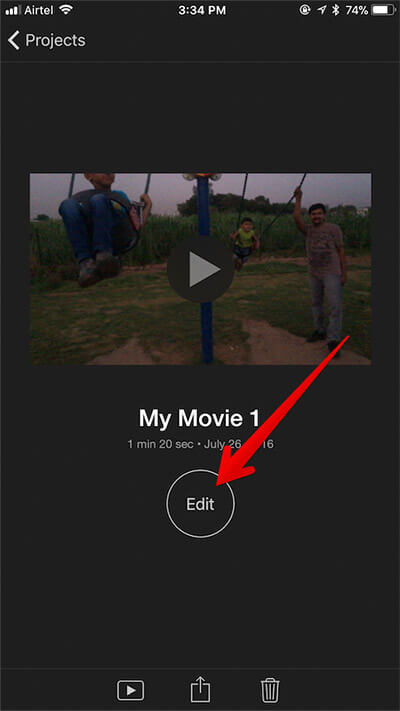 Tap on Edit in Existing iMovie on iPhone