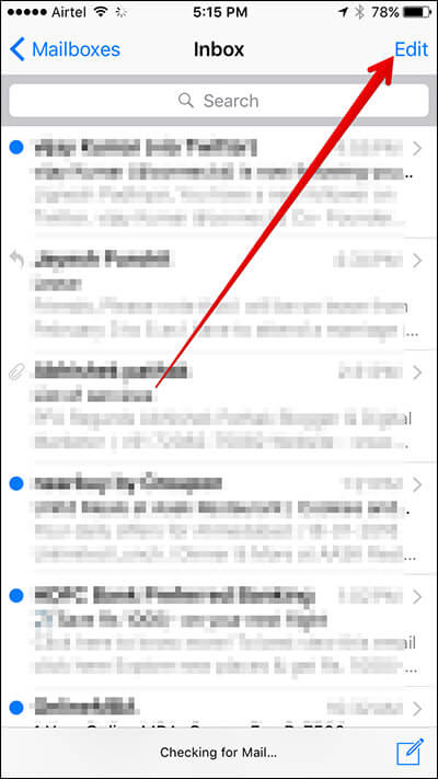 Tap on Edit in Mail App on iPhone