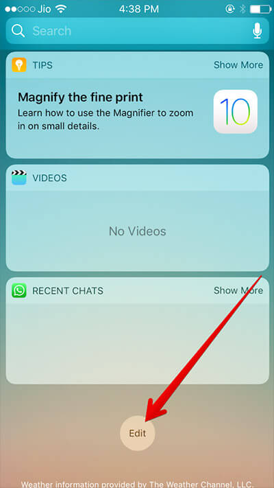 Tap on Edit in Widget on iPhone